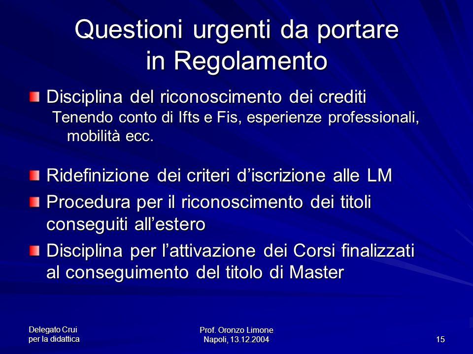 Delegato Crui per la didattica Prof.