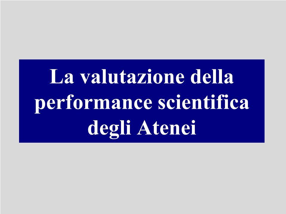 La valutazione della performance scientifica degli Atenei