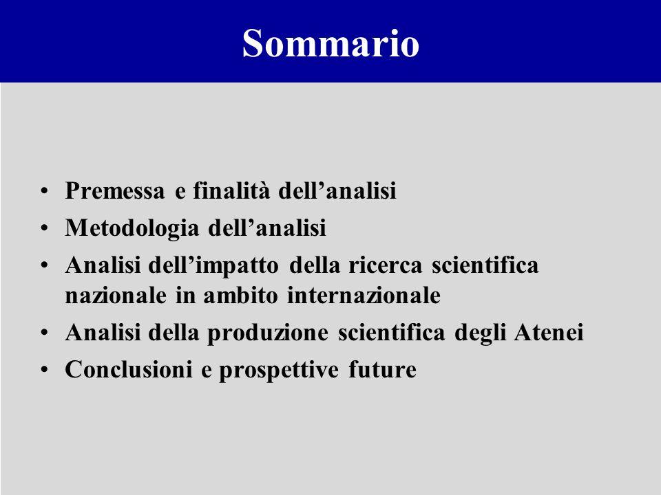 Sommario Premessa e finalità dellanalisi Metodologia dellanalisi Analisi dellimpatto della ricerca scientifica nazionale in ambito internazionale Anal