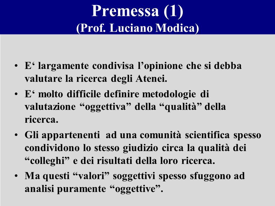 Premessa (1) (Prof. Luciano Modica) E largamente condivisa lopinione che si debba valutare la ricerca degli Atenei. E molto difficile definire metodol