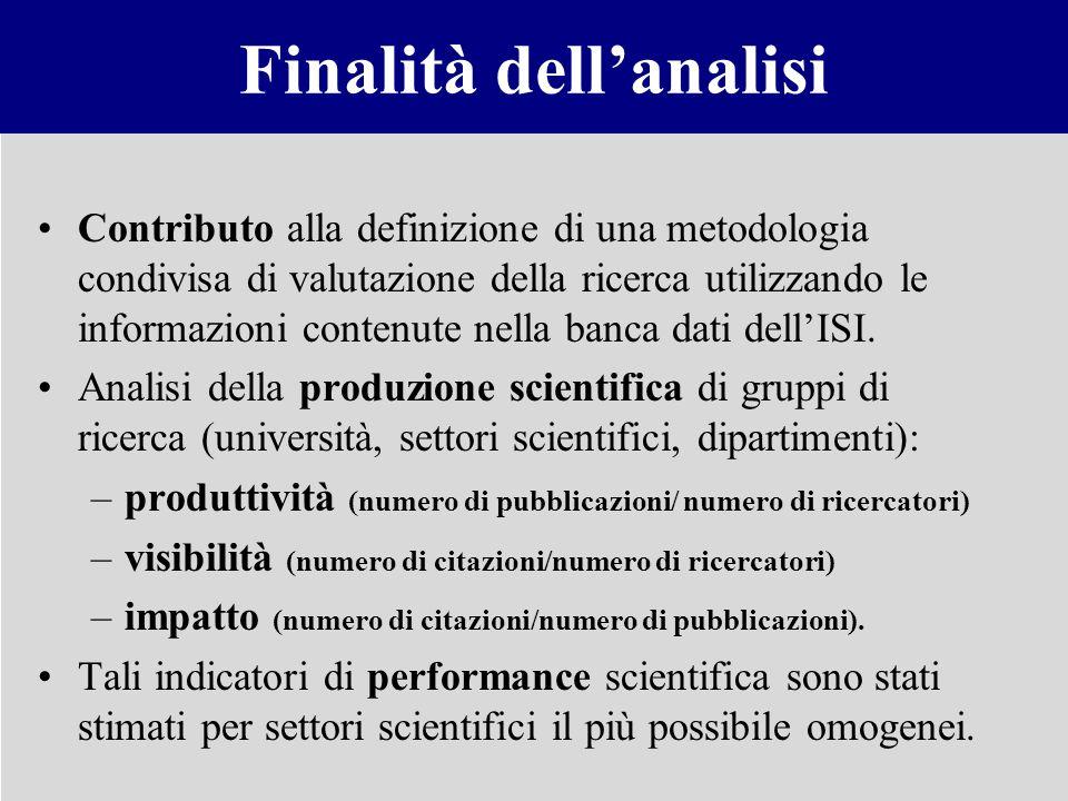 Finalità dellanalisi Contributo alla definizione di una metodologia condivisa di valutazione della ricerca utilizzando le informazioni contenute nella
