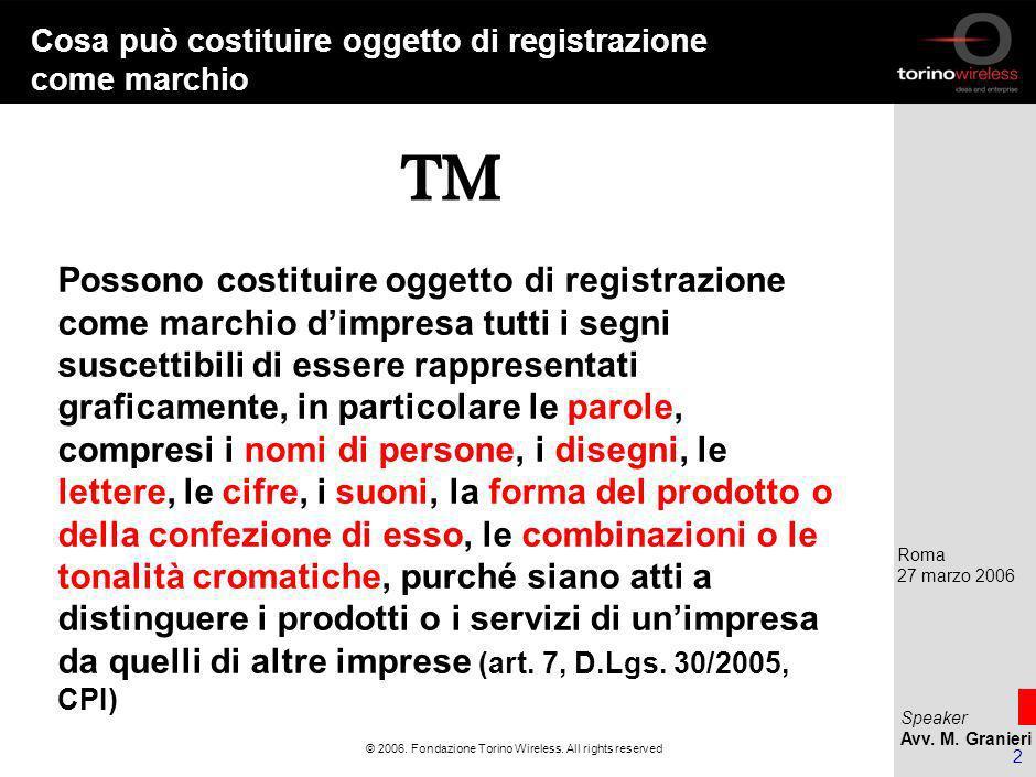 Speaker Avv. M. Granieri Roma 27 marzo 2006 1 © 2006.