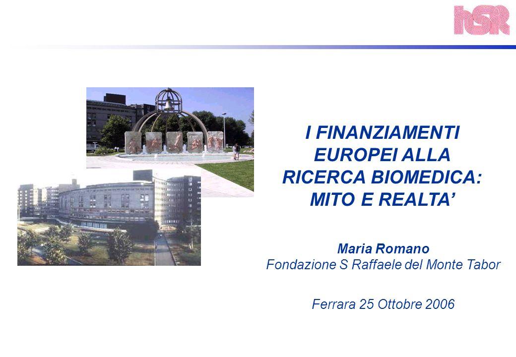 I FINANZIAMENTI EUROPEI ALLA RICERCA BIOMEDICA: MITO E REALTA Maria Romano Fondazione S Raffaele del Monte Tabor Ferrara 25 Ottobre 2006