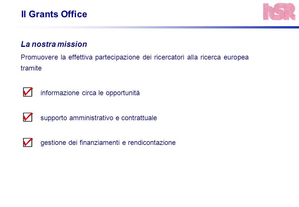 Il Grants Office La nostra mission Promuovere la effettiva partecipazione dei ricercatori alla ricerca europea tramite informazione circa le opportuni
