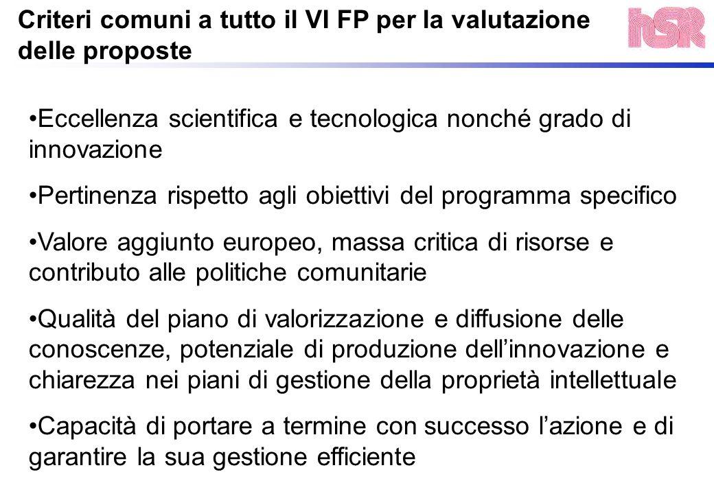 Criteri comuni a tutto il VI FP per la valutazione delle proposte Eccellenza scientifica e tecnologica nonché grado di innovazione Pertinenza rispetto