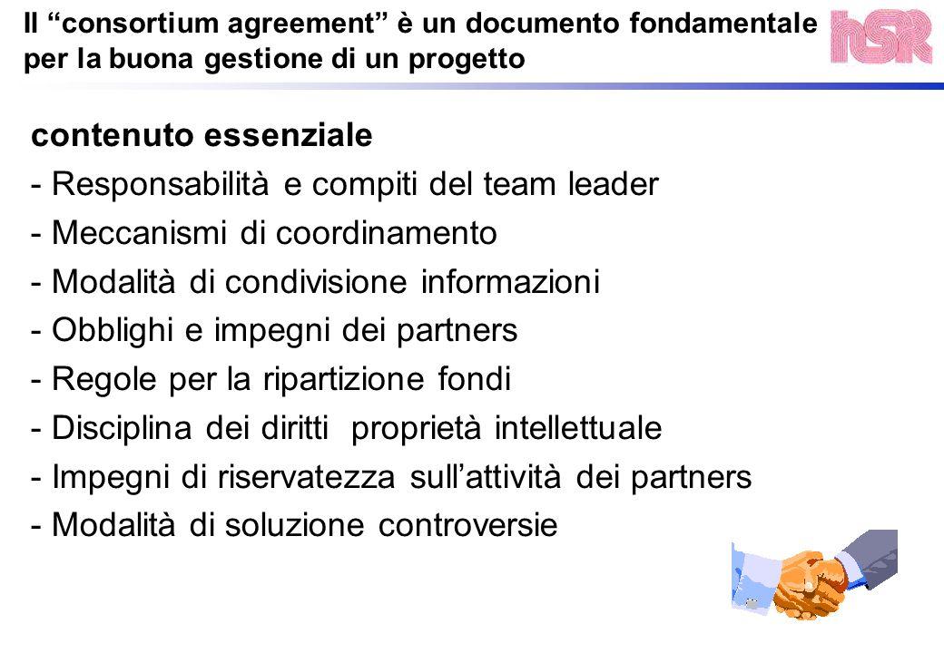 Il consortium agreement è un documento fondamentale per la buona gestione di un progetto contenuto essenziale - Responsabilità e compiti del team lead