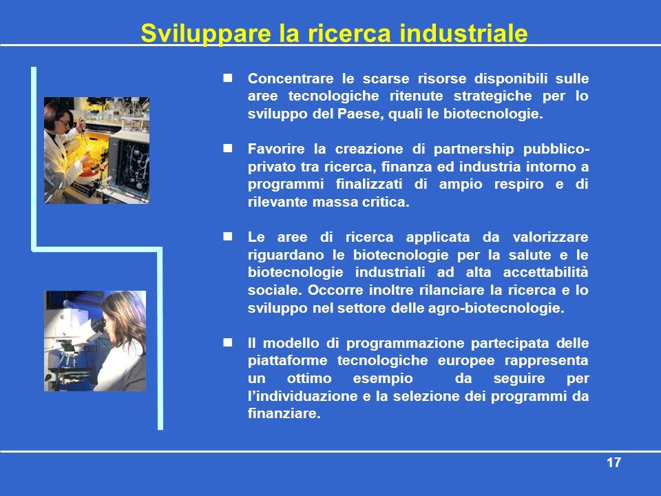 17 Sviluppare la ricerca industriale Concentrare le scarse risorse disponibili sulle aree tecnologiche ritenute strategiche per lo sviluppo del Paese,