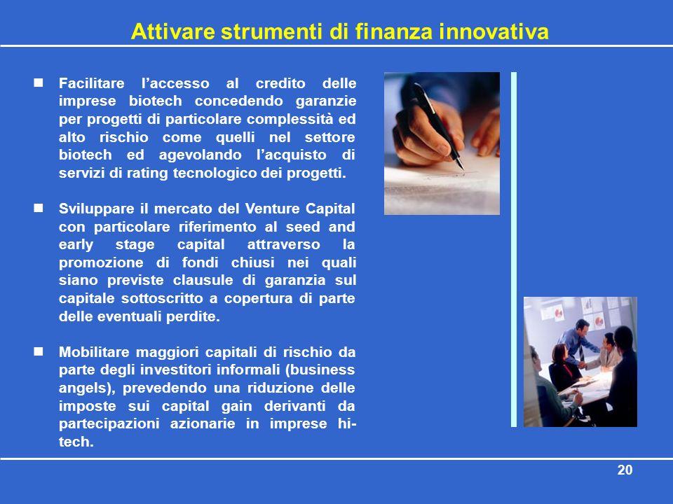 20 Attivare strumenti di finanza innovativa Facilitare laccesso al credito delle imprese biotech concedendo garanzie per progetti di particolare compl