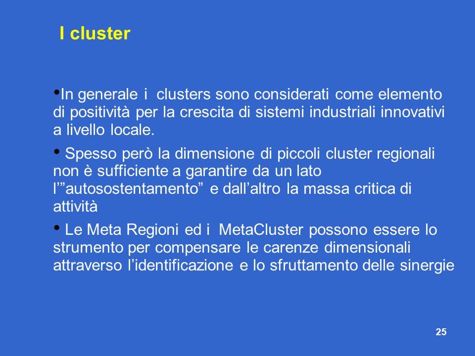 25 In generale i clusters sono considerati come elemento di positività per la crescita di sistemi industriali innovativi a livello locale. Spesso però