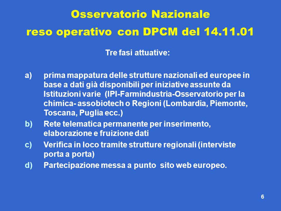 6 Osservatorio Nazionale reso operativo con DPCM del 14.11.01 Tre fasi attuative: a)prima mappatura delle strutture nazionali ed europee in base a dat