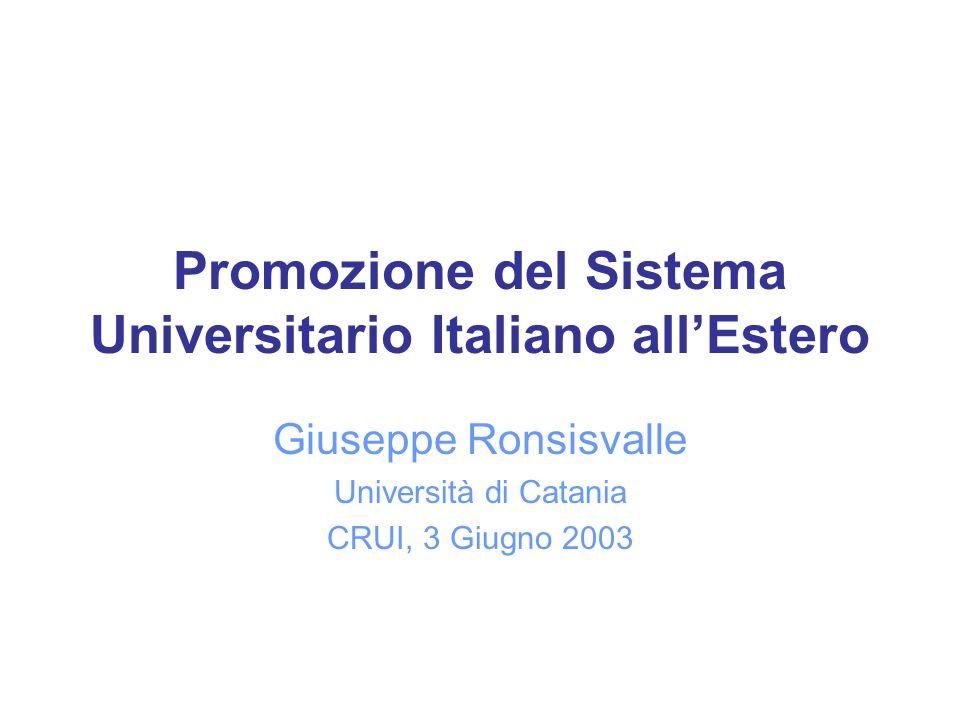 Promozione del Sistema Universitario Italiano allEstero Giuseppe Ronsisvalle Università di Catania CRUI, 3 Giugno 2003