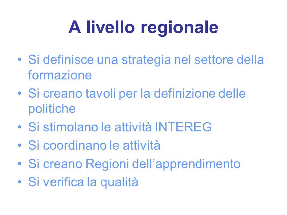 A livello regionale Si definisce una strategia nel settore della formazione Si creano tavoli per la definizione delle politiche Si stimolano le attività INTEREG Si coordinano le attività Si creano Regioni dellapprendimento Si verifica la qualità