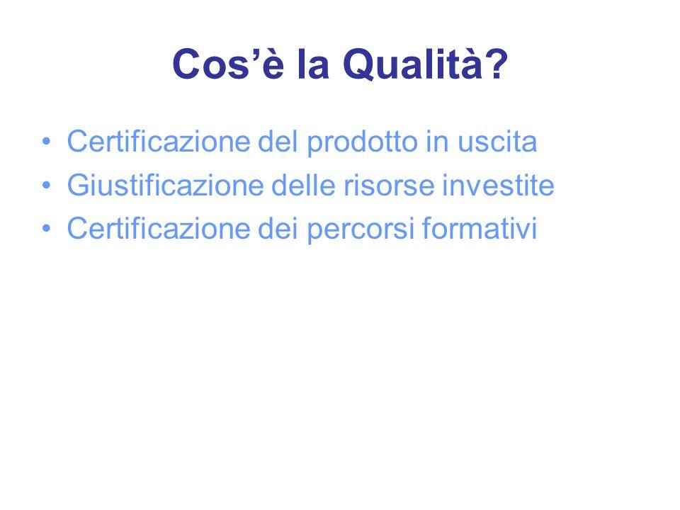 Cosè la Qualità? Certificazione del prodotto in uscita Giustificazione delle risorse investite Certificazione dei percorsi formativi