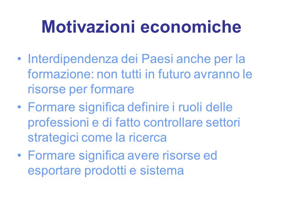 Motivazioni economiche Interdipendenza dei Paesi anche per la formazione: non tutti in futuro avranno le risorse per formare Formare significa definir