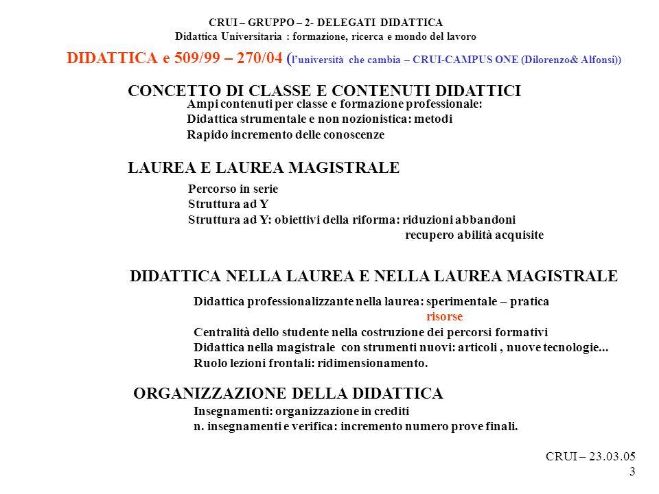 CRUI – GRUPPO – 2- DELEGATI DIDATTICA Didattica Universitaria : formazione, ricerca e mondo del lavoro DIDATTICA e 509/99 – 270/04 ( luniversità che c