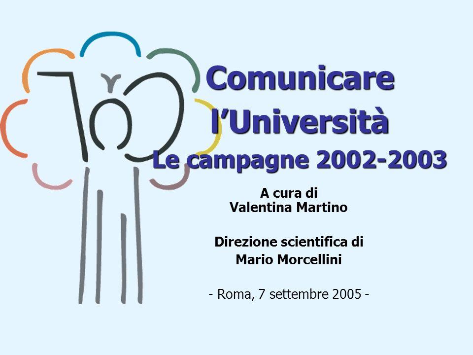 Comunicare lUniversità Le campagne 2002-2003 A cura di Valentina Martino Direzione scientifica di Mario Morcellini - Roma, 7 settembre 2005 -