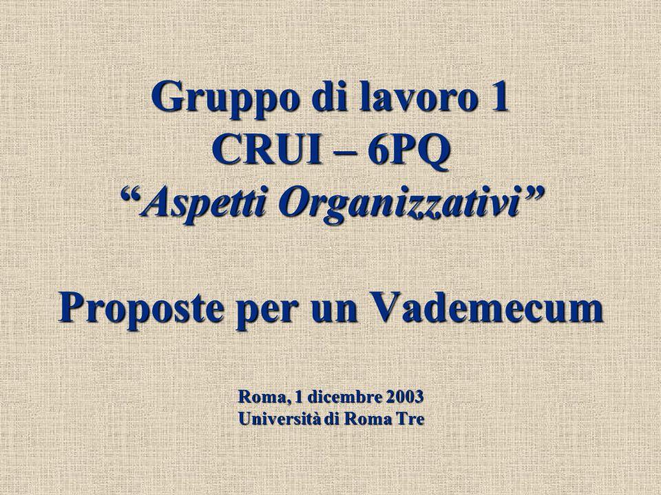 Roma, 1 dicembre 2003 Gruppo di Lavoro 1 CRUI-6PQ Aspetti Organizzativi 2 Proposte per un Vademecum o meglio Proposte per una Carta dei Servizi