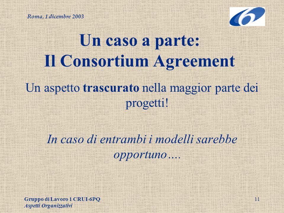 Roma, 1 dicembre 2003 Gruppo di Lavoro 1 CRUI-6PQ Aspetti Organizzativi 11 Un caso a parte: Il Consortium Agreement Un aspetto trascurato nella maggior parte dei progetti.