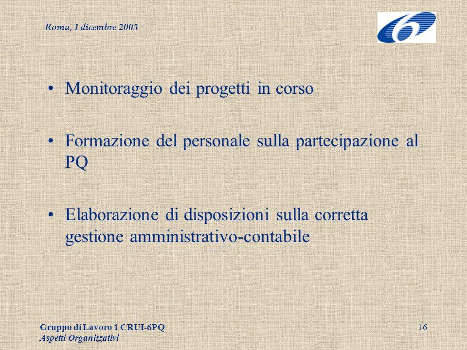 Roma, 1 dicembre 2003 Gruppo di Lavoro 1 CRUI-6PQ Aspetti Organizzativi 16 Monitoraggio dei progetti in corso Formazione del personale sulla partecipazione al PQ Elaborazione di disposizioni sulla corretta gestione amministrativo-contabile