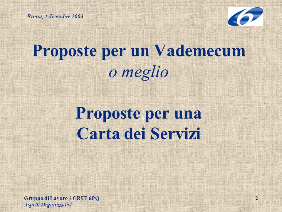 Roma, 1 dicembre 2003 Gruppo di Lavoro 1 CRUI-6PQ Aspetti Organizzativi 13 Chi fa che cosa.