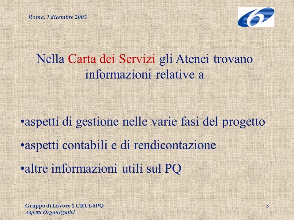 Roma, 1 dicembre 2003 Gruppo di Lavoro 1 CRUI-6PQ Aspetti Organizzativi 4 Fasi della vita di un progetto: 2 modelli possibili Amministrazione centralizzata Amministrazione decentrata (ampia autonomia alle strutture)