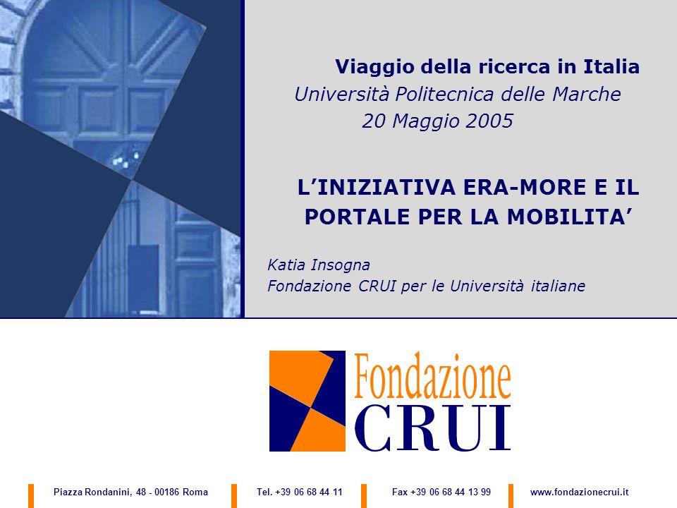 Viaggio della ricerca in Italia Università Politecnica delle Marche 20 Maggio 2005 LINIZIATIVA ERA-MORE E IL PORTALE PER LA MOBILITA Katia Insogna Fon