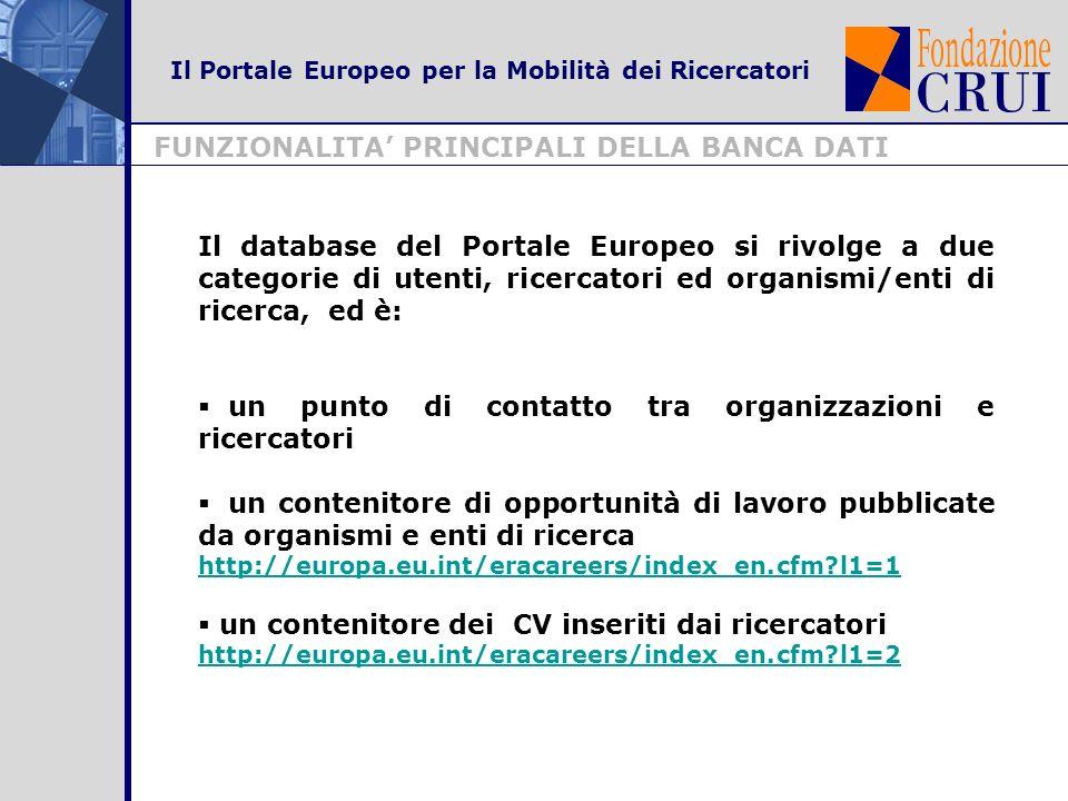 FUNZIONALITA PRINCIPALI DELLA BANCA DATI Il Portale Europeo per la Mobilità dei Ricercatori Il database del Portale Europeo si rivolge a due categorie di utenti, ricercatori ed organismi/enti di ricerca, ed è: un punto di contatto tra organizzazioni e ricercatori un contenitore di opportunità di lavoro pubblicate da organismi e enti di ricerca http://europa.eu.int/eracareers/index_en.cfm l1=1 un contenitore dei CV inseriti dai ricercatori http://europa.eu.int/eracareers/index_en.cfm l1=2