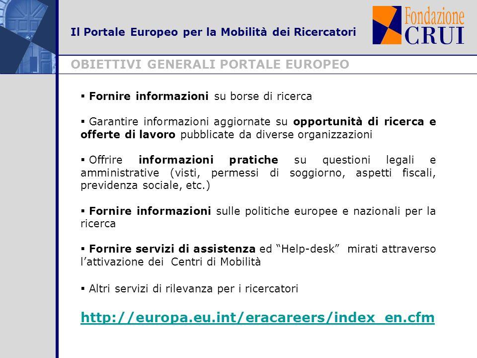 Il Portale Europeo per la Mobilità dei Ricercatori OBIETTIVI GENERALI PORTALE EUROPEO Fornire informazioni su borse di ricerca Garantire informazioni