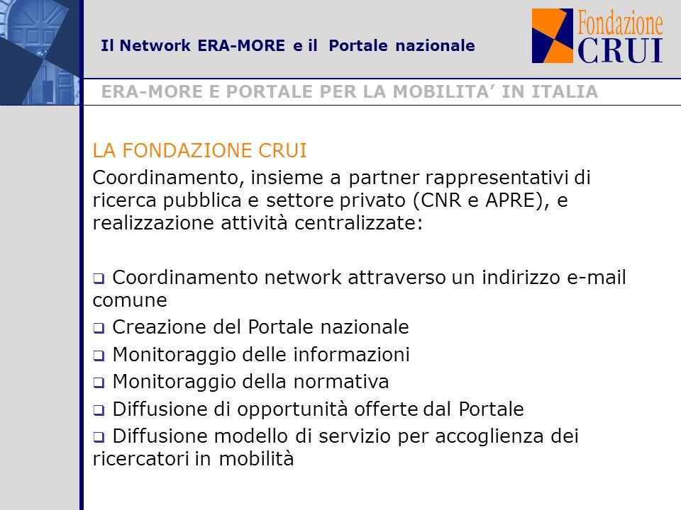 Il Network ERA-MORE e il Portale nazionale ERA-MORE E PORTALE PER LA MOBILITA IN ITALIA LA FONDAZIONE CRUI Coordinamento, insieme a partner rappresentativi di ricerca pubblica e settore privato (CNR e APRE), e realizzazione attività centralizzate: Coordinamento network attraverso un indirizzo e-mail comune Creazione del Portale nazionale Monitoraggio delle informazioni Monitoraggio della normativa Diffusione di opportunità offerte dal Portale Diffusione modello di servizio per accoglienza dei ricercatori in mobilità