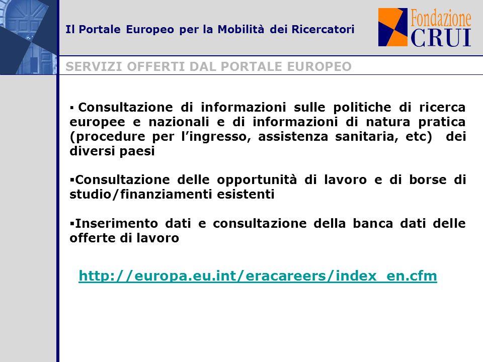 FUNZIONALITA PRINCIPALI DELLA BANCA DATI Il Portale Europeo per la Mobilità dei Ricercatori Il database del Portale Europeo si rivolge a due categorie di utenti, ricercatori ed organismi/enti di ricerca, ed è: un punto di contatto tra organizzazioni e ricercatori un contenitore di opportunità di lavoro pubblicate da organismi e enti di ricerca http://europa.eu.int/eracareers/index_en.cfm?l1=1 un contenitore dei CV inseriti dai ricercatori http://europa.eu.int/eracareers/index_en.cfm?l1=2