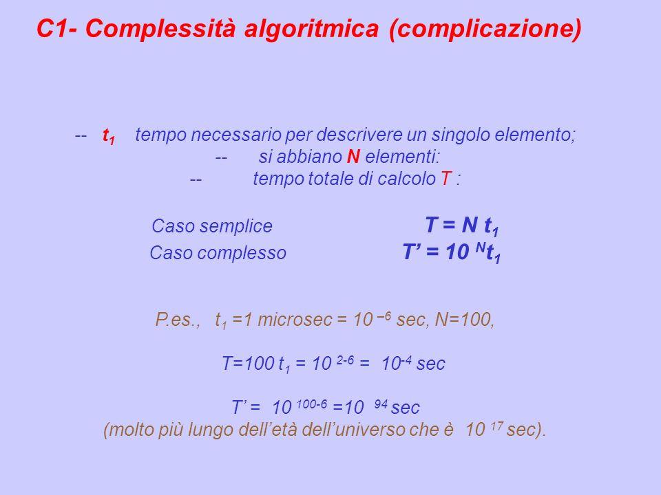 -- t 1 tempo necessario per descrivere un singolo elemento; -- si abbiano N elementi: -- tempo totale di calcolo T : Caso semplice T = N t 1 Caso comp