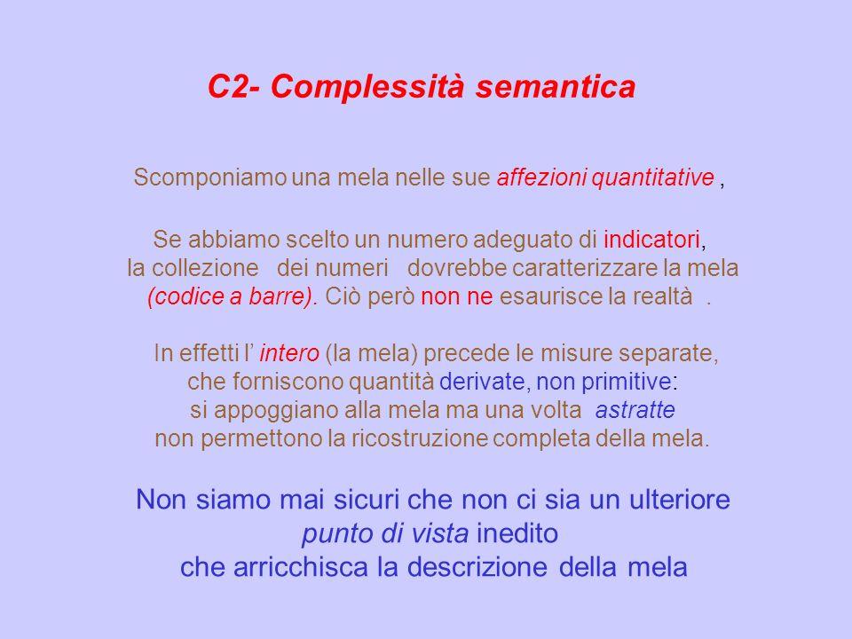 C2- Complessità semantica Scomponiamo una mela nelle sue affezioni quantitative, Se abbiamo scelto un numero adeguato di indicatori, la collezione dei