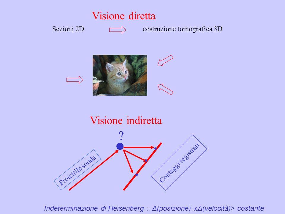 Visione diretta Visione indiretta Sezioni 2D costruzione tomografica 3D ? Conteggi registrati Proiettile sonda Indeterminazione di Heisenberg : Δ(posi