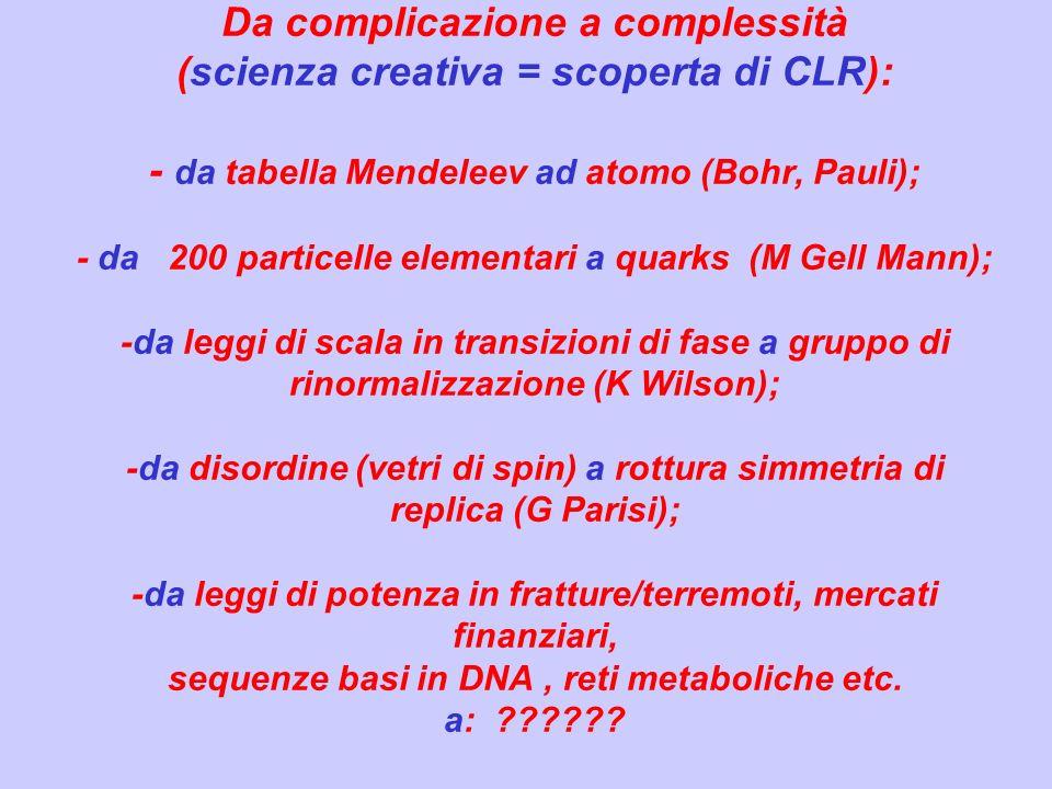 Da complicazione a complessità (scienza creativa = scoperta di CLR): - da tabella Mendeleev ad atomo (Bohr, Pauli); - da 200 particelle elementari a q