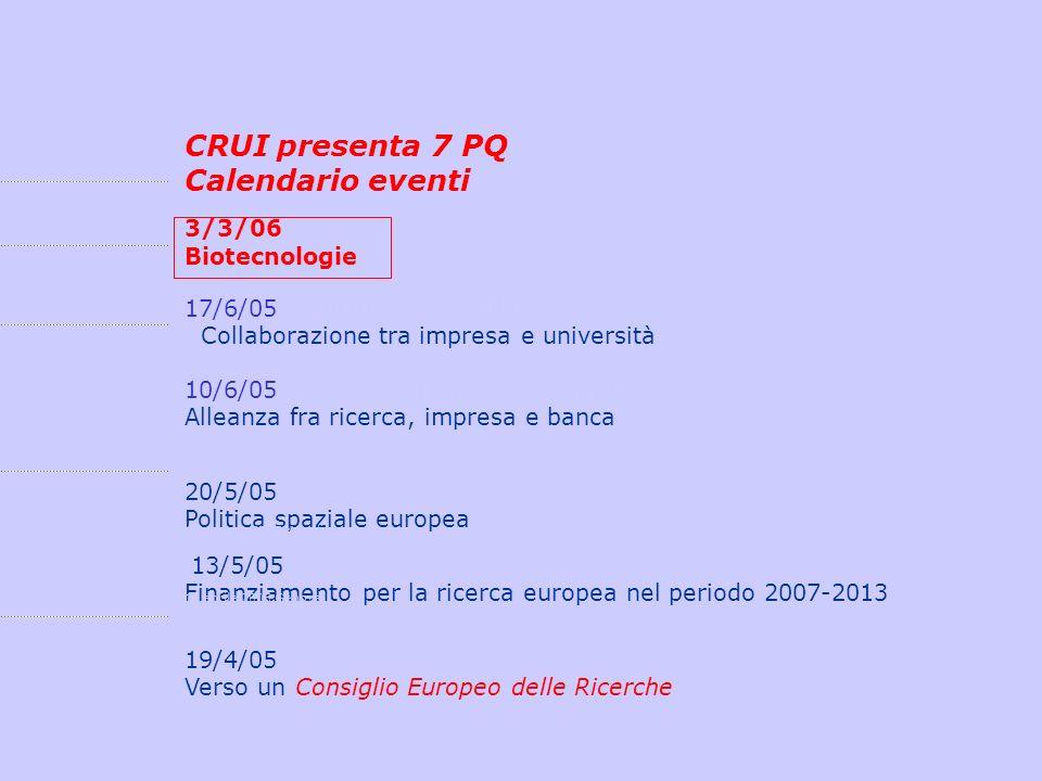 CRUI presenta 7 PQ Calendario eventi 3/3/06marzo 2006 Messina Biotecnologiemarzo 2006 Messina 17/6/0517 giugno 2005 Milano Collaborazione tra impresa