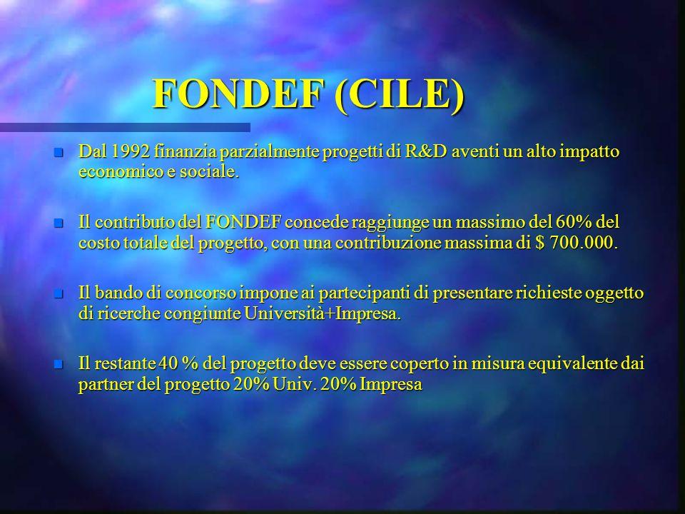 FONDEF (CILE) n Dal 1992 finanzia parzialmente progetti di R&D aventi un alto impatto economico e sociale. n Il contributo del FONDEF concede raggiung