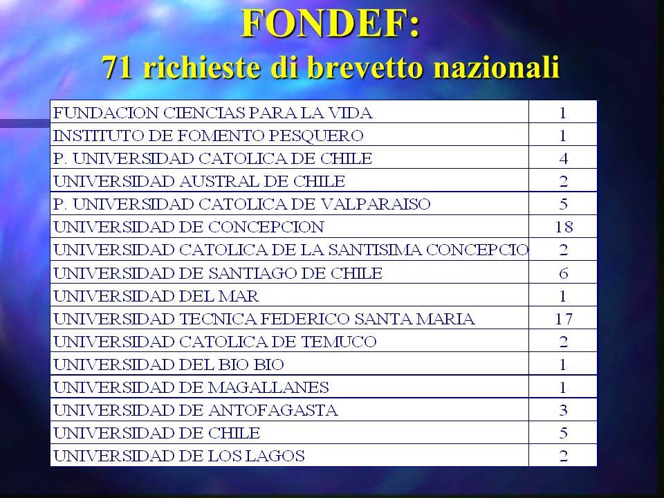 FONDEF: 71 richieste di brevetto nazionali