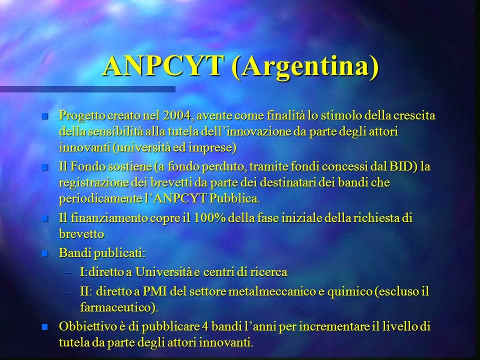 ANPCYT (Argentina) n Progetto creato nel 2004, avente come finalità lo stimolo della crescita della sensibilità alla tutela dellinnovazione da parte degli attori innovanti (università ed imprese) n Il Fondo sostiene (a fondo perduto, tramite fondi concessi dal BID) la registrazione dei brevetti da parte dei destinatari dei bandi che periodicamente lANPCYT Pubblica.