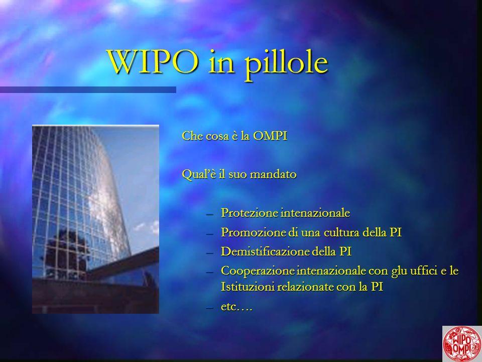 WIPO in pillole Che cosa è la OMPI Qualè il suo mandato –Protezione intenazionale –Promozione di una cultura della PI –Demistificazione della PI –Cooperazione intenazionale con glu uffici e le Istituzioni relazionate con la PI –etc….
