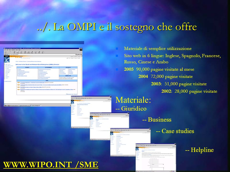 Materiale: -- Giuridico -- Business -- Case studies -- Helpline WWW.WIPO.INT /SME../.