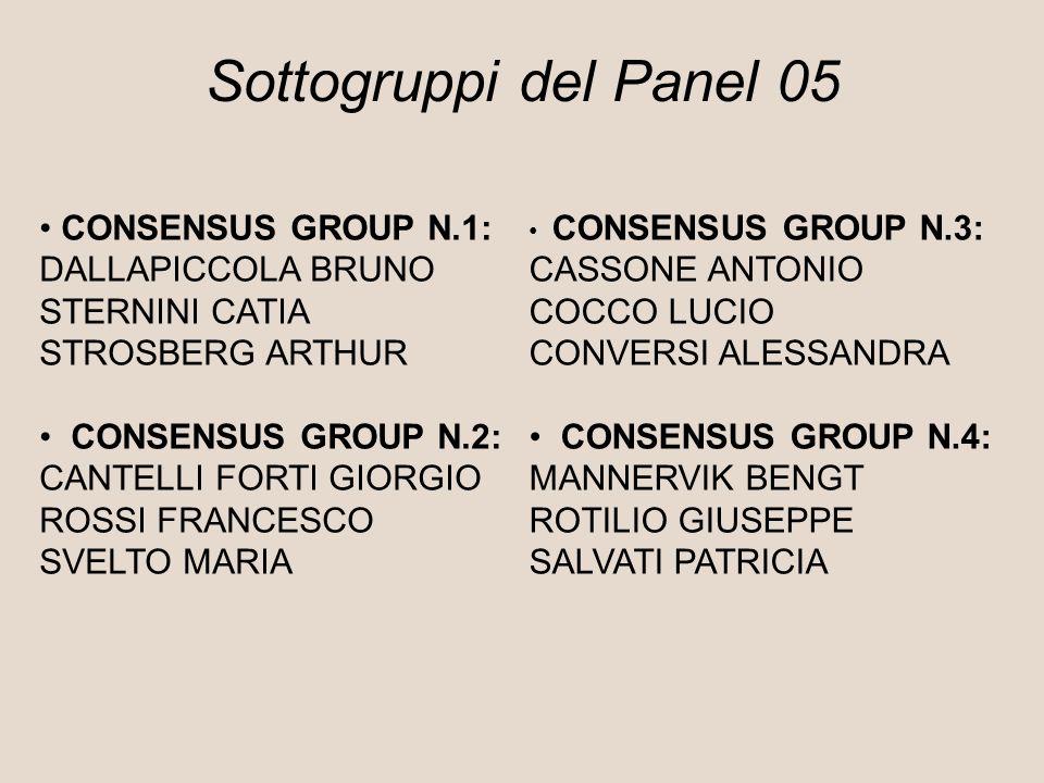 Sottogruppi del Panel 05 CONSENSUS GROUP N.1: DALLAPICCOLA BRUNO STERNINI CATIA STROSBERG ARTHUR CONSENSUS GROUP N.2: CANTELLI FORTI GIORGIO ROSSI FRANCESCO SVELTO MARIA CONSENSUS GROUP N.3: CASSONE ANTONIO COCCO LUCIO CONVERSI ALESSANDRA CONSENSUS GROUP N.4: MANNERVIK BENGT ROTILIO GIUSEPPE SALVATI PATRICIA