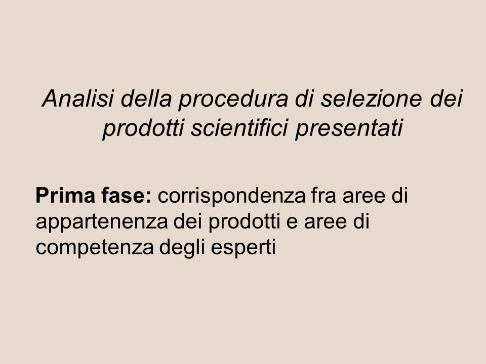 Analisi della procedura di selezione dei prodotti scientifici presentati Prima fase: corrispondenza fra aree di appartenenza dei prodotti e aree di competenza degli esperti