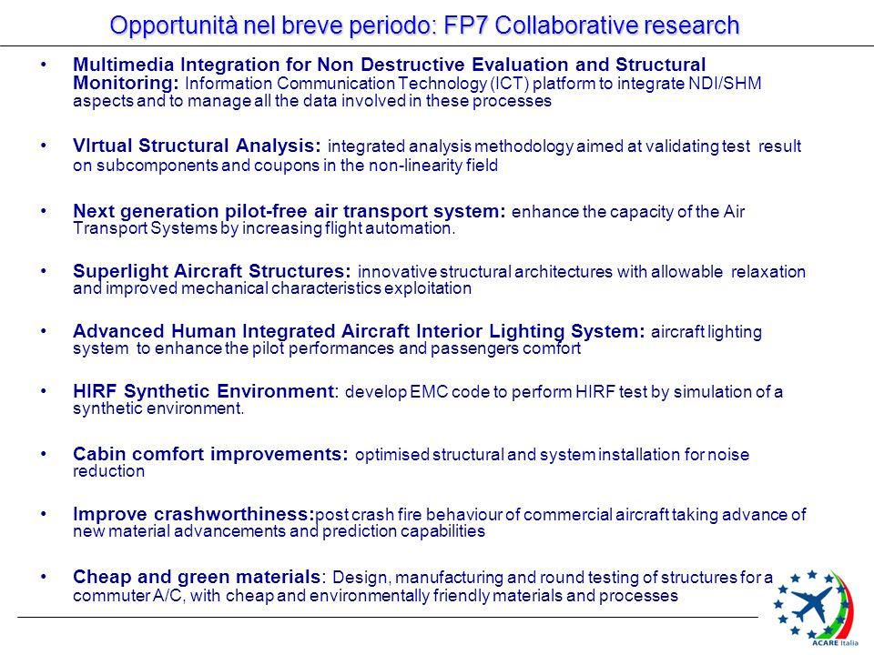 Opportunità nel breve periodo: FP7 Collaborative research Multimedia Integration for Non Destructive Evaluation and Structural Monitoring: Information