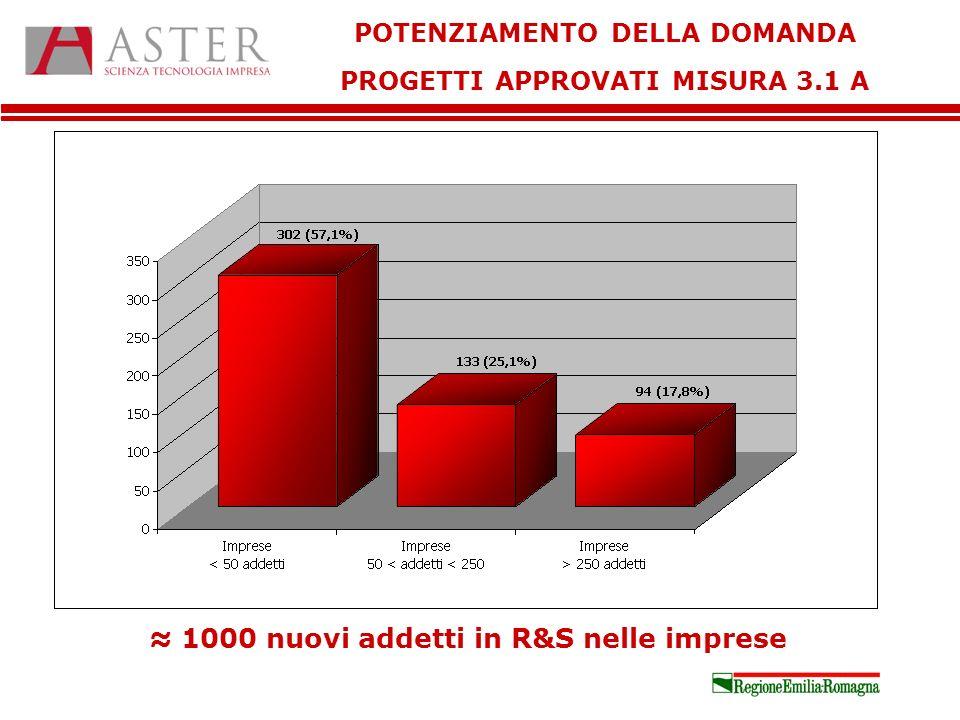 POTENZIAMENTO DELLA DOMANDA PROGETTI APPROVATI MISURA 3.1 A 1000 nuovi addetti in R&S nelle imprese