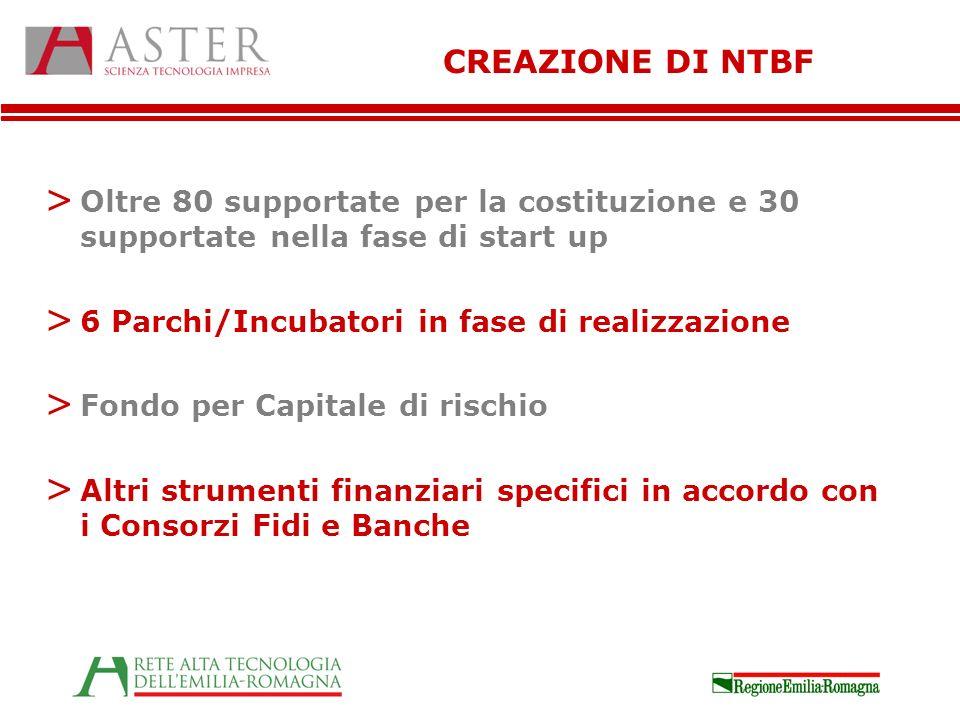 CREAZIONE DI NTBF > Oltre 80 supportate per la costituzione e 30 supportate nella fase di start up > 6 Parchi/Incubatori in fase di realizzazione > Fo
