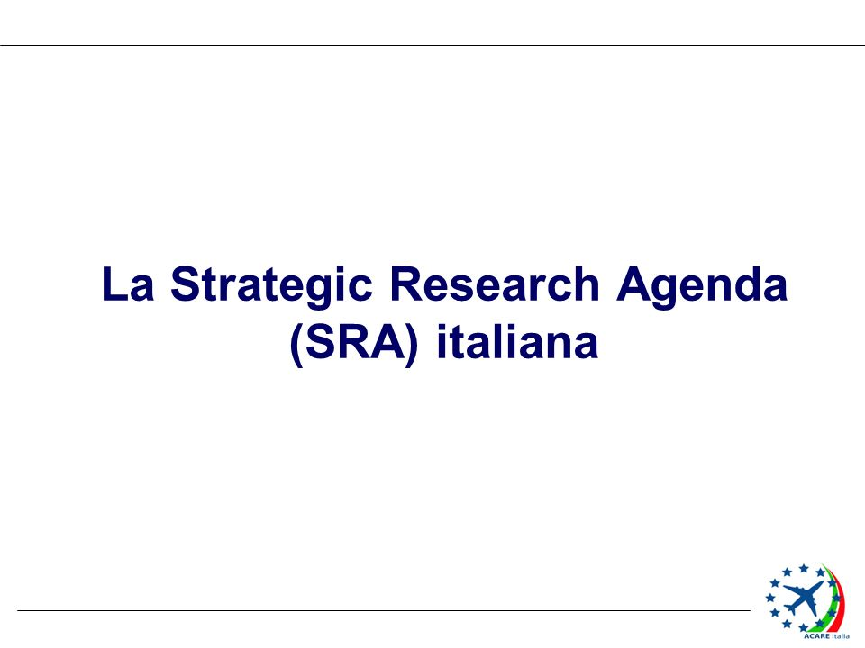 La Strategic Research Agenda (SRA) italiana