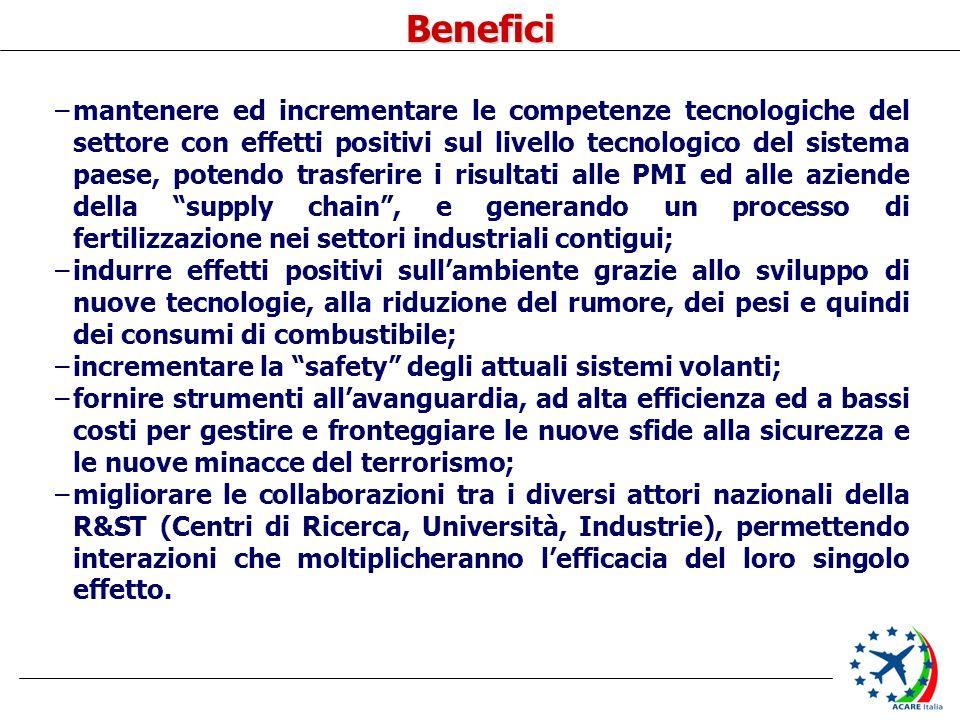 Benefici –mantenere ed incrementare le competenze tecnologiche del settore con effetti positivi sul livello tecnologico del sistema paese, potendo tra