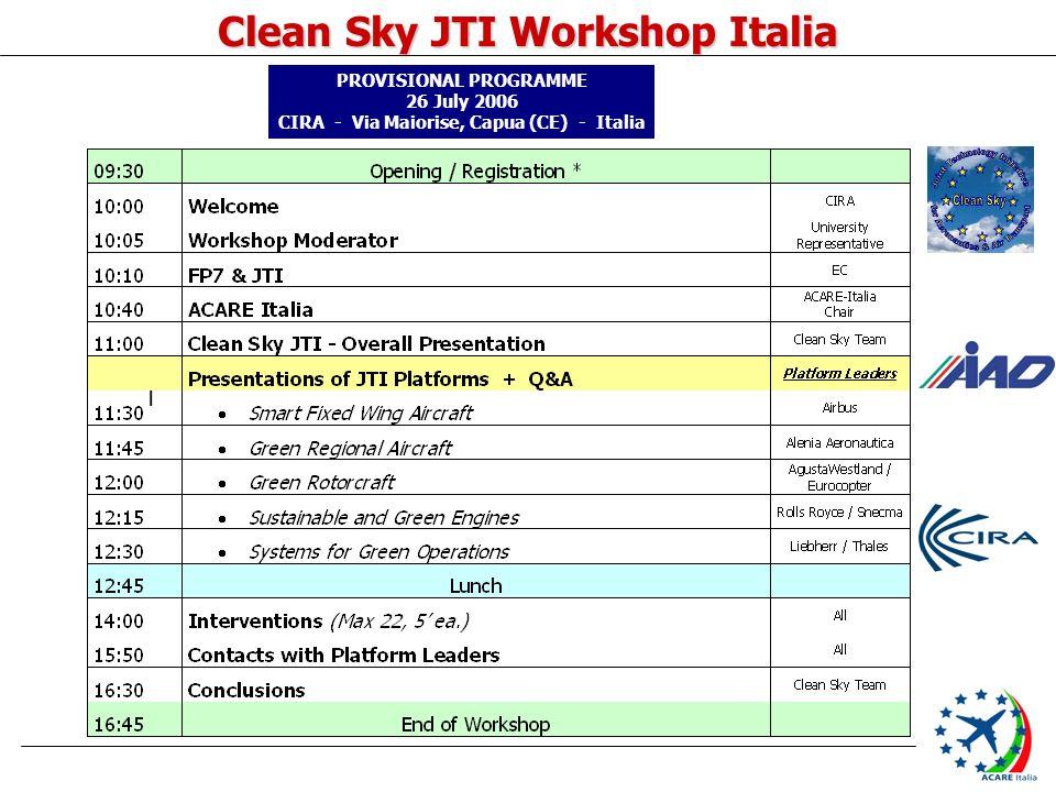 Clean Sky JTI Workshop Italia I PROVISIONAL PROGRAMME 26 July 2006 CIRA - Via Maiorise, Capua (CE) - Italia