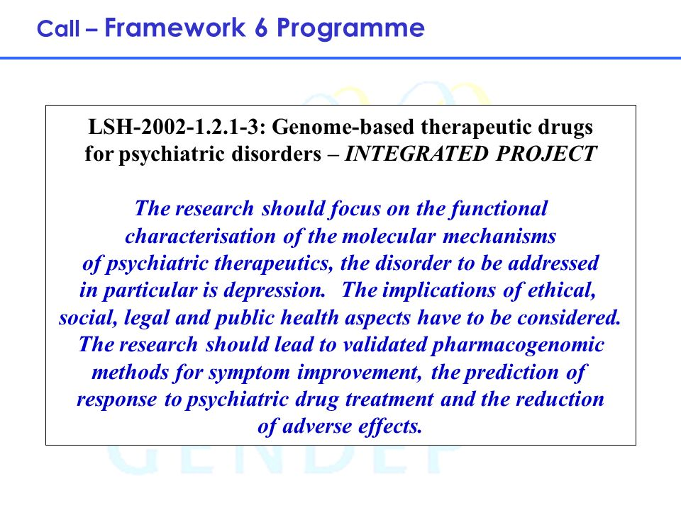 5 LSH-2002-1.2.1-3: Genome-based therapeutic drugs for psychiatric disorders – INTEGRATED PROJECT The research should focus on the functional characte