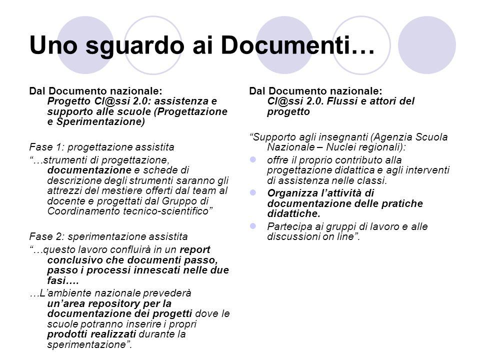 Uno sguardo ai Documenti… Dal Documento nazionale: Progetto Cl@ssi 2.0: assistenza e supporto alle scuole (Progettazione e Sperimentazione) Fase 1: pr